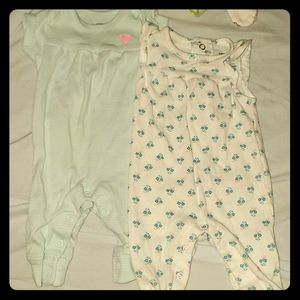 Lot of 2 Carters Newborn Girl one pc outfits